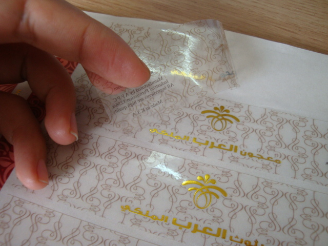 Transparent PVC Gold Stamping Sticker