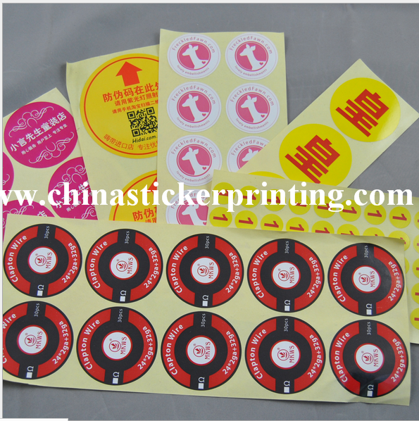 Round waterproof stickers on individual sheet