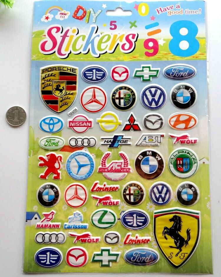 Car Logos Puffy Stickers