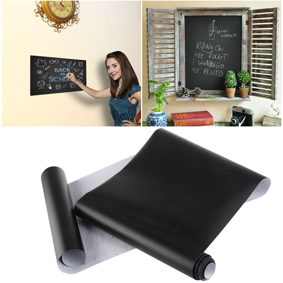 Self-Adhesive Blackboard Sticker for Home School Office Wall Decals Paper Sticker